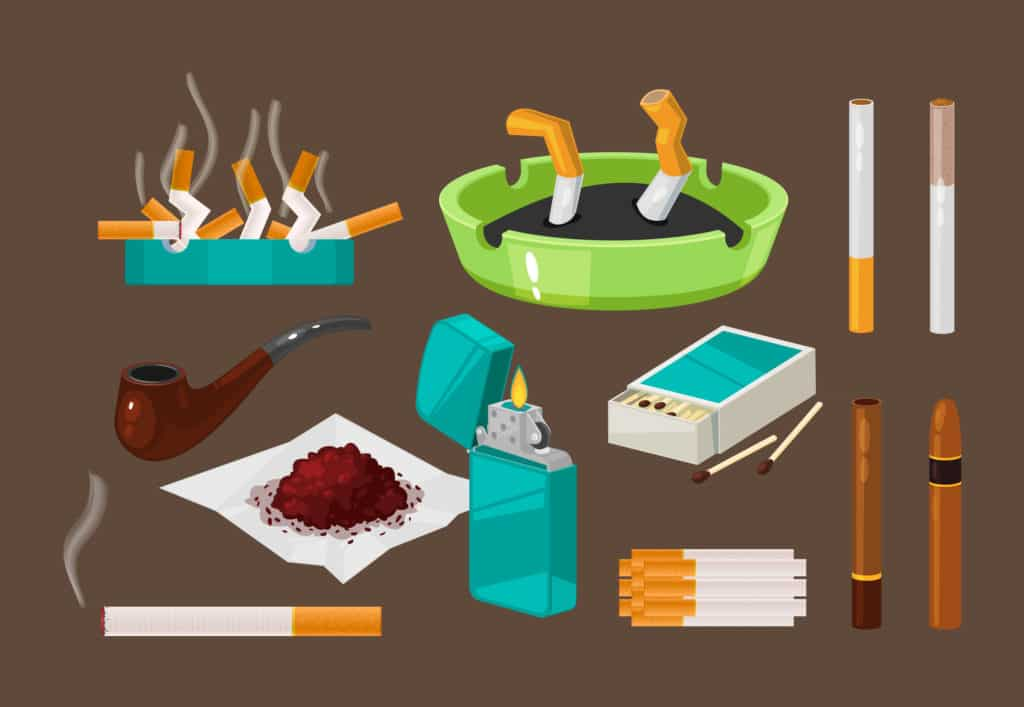 Fight against bad habits, dangerous effects of smoking. Set of filter cigarettes, cigars with tobacco in ashtray, nicotine addiction. Crumpled gobies, broken cigarettes. Vector illustration.